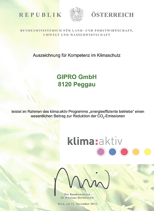 Award for Competence in Climate Protection for GIPRO